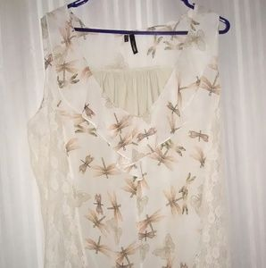 Dragonfly and butterfly print with lace blouse